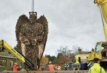 The Knife Angel was carefully loaded onto a lorry to be transported to Liverpool