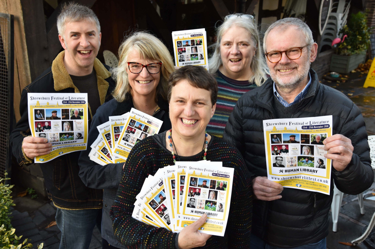 Festival organisers Hilary Hannaford (front centre) and Susan Caroline (second right) with sponsors (from left) Ben Calder, of The Centre of Integral Health; Ann Tudor, partner at TCA Accountants and John Hall, owner of specialist pen retailer Write Here