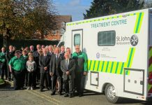 Shropshire St John Ambulance volunteers and Mark Master Masons welcome the county's new treatment centre vehicle