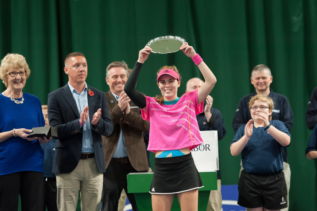 Delighted Maia Lumsden celebrates victory in the Budgen Motors GB Pro-Series final at The Shrewsbury Club. Photo: Richard Dawson Photography