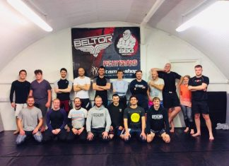 Head Coach Casey Jones with members of Straight Blast Gym at their Shrewsbury premises