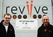 Dan Wood, volunteer and Simon Hilton, store manager, outside Reviive, Shrewsbury