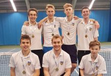 Shropshire's men's team celebrate their second promotion of the year at Sunderland Tennis Centre, back from left: Ed Gibbs, Luke Henley, Sam Chapman, Matt Lee; front: Tom Loxley, Alex Parry (captain), Roan Jones