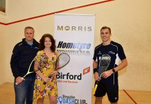 Daniel Aimer, of the Shropshire Squash Club and Stephanie Henson of Six Ticks with Nick Matthews