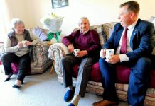 Councillor Richard Overton chats to Mr and Mrs Picken at their home in Dee Close