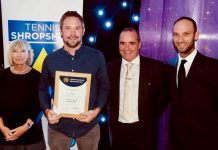 Shifnal Tennis Club's Ian Gillespie, second left, named as the coach of the year, with Tennis Shropshire president Jilly Broadbent, Shrewsbury Town FC chief executive Brian Caldwell and Adam Wharf, the director of performance tennis at The Shrewsbury Club
