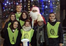 Oswestry School Interact Group from left to right front row. Una Kozic, Anna Holbrook, Suzanne Shooman teacher, Andrei Bahan Interact President. Back row. Beth Williams, Ivan Majic, Meredith Bryson and Father Christmas
