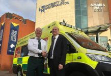 Anthony Marsh, Chief Executive of West Midlands Ambulance Service with Geoff Layer, Vice Chancellor of the University of Wolverhampton. Photo: West Midlands Ambulance Service