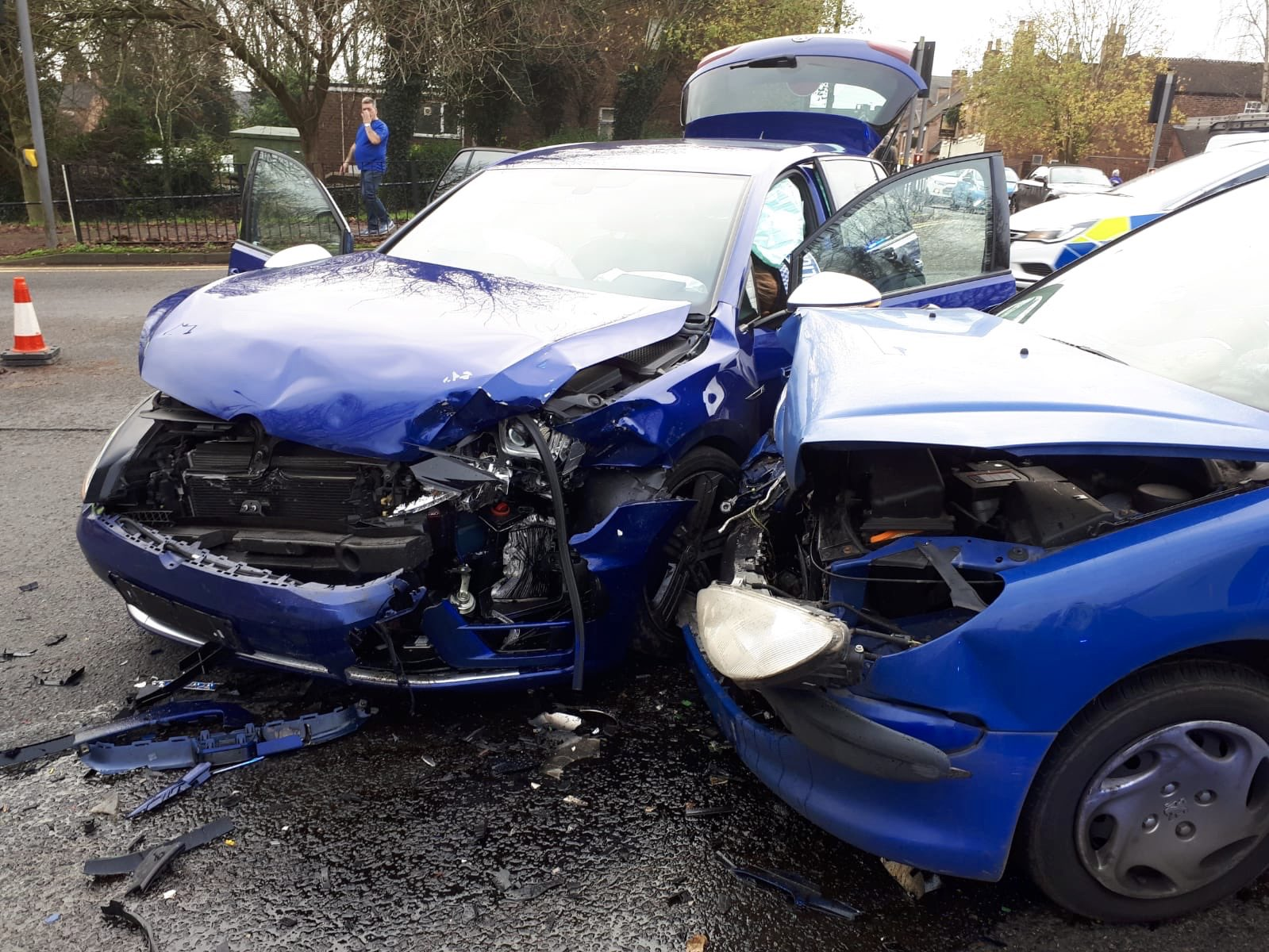 The scene of the collision in Madeley. Photo: @TelfordPatrol