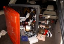 A wheelie bin containing perfume and aftershave was discovered inside the car stopped by police. Photo: @TelfordPatrol