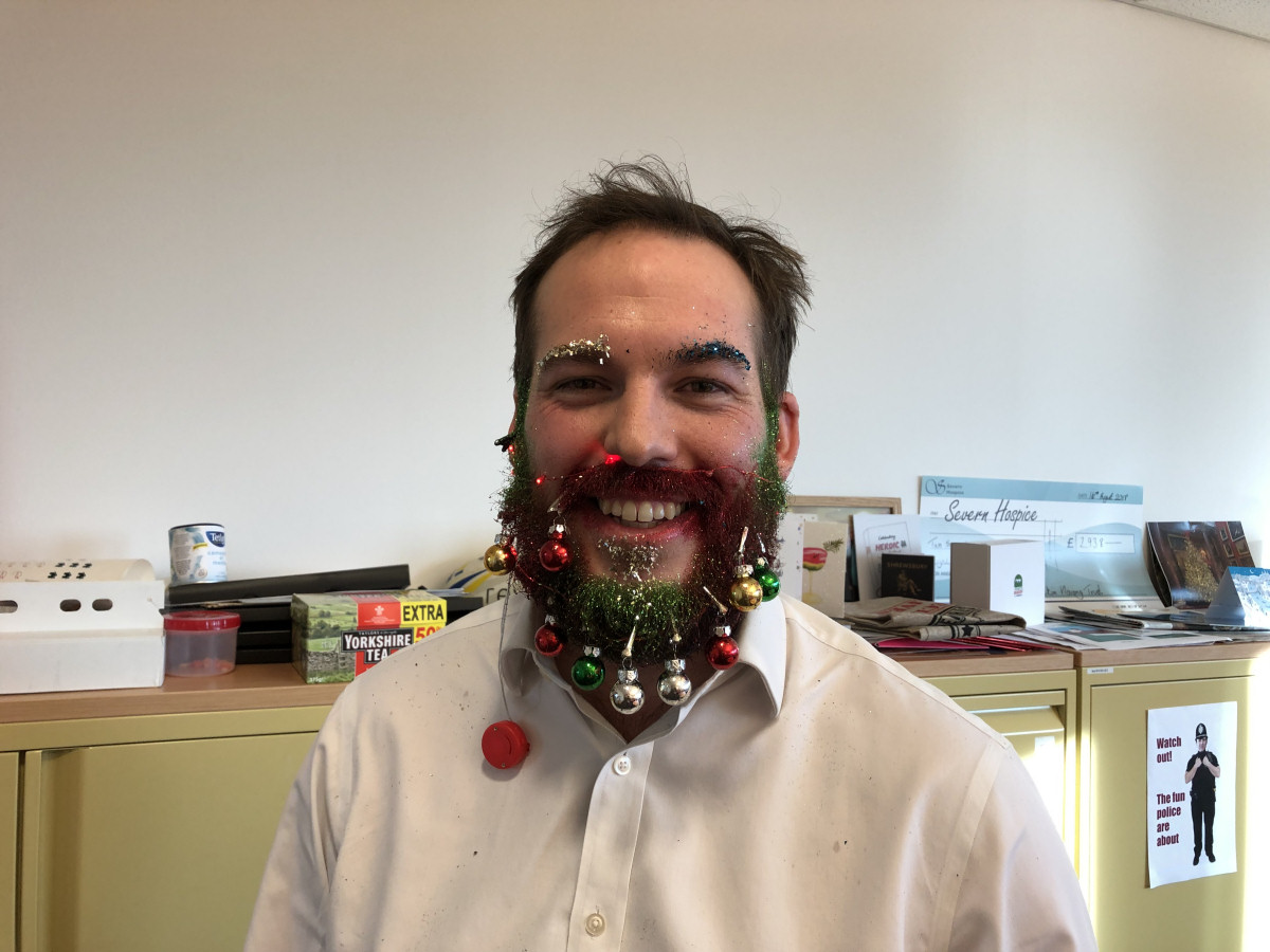 Ed Thomas with a fully decorated Christmas beard