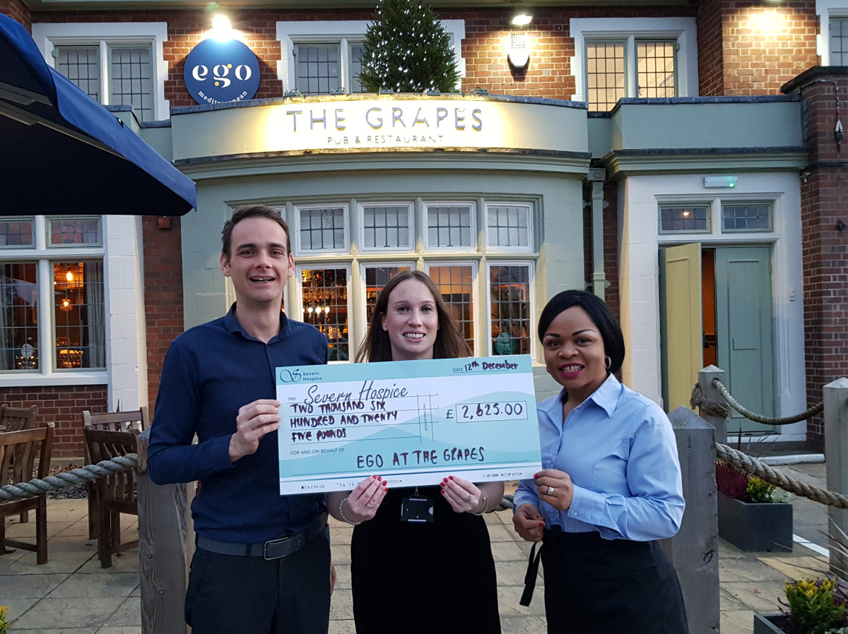 A cheque for £2,625 was donated to Severn Hospice