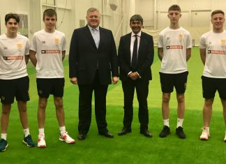 Some of the cricketers taking part in Shropshire's Emerging Player Programme line up alongside Andrew Huxley, centre left, of sponsors Besblock, and Toby Shaw, the chairman of Shropshire CCC