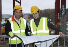 Jacob Chandler and centre manager Glynn Morrow on the Fashion Quarter site