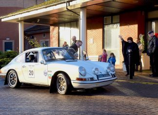 Driver, Stephen Owens with navigator Nick Bloxham on a 1965 Porsche 911 SWB at Telford, half way through the Le Jog Rally on Sunday