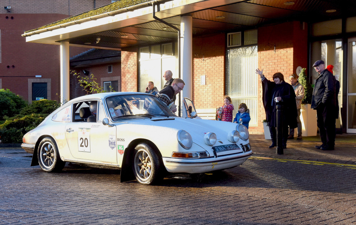 Driver, Stephen Owens with navigator Nick Bloxham on a 1965 Porsche 911 SWB at Telford, half way through the Le Jog Rally on Sunday