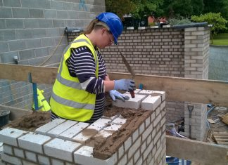 Lynsey Marchant, a bricklayer at Pave Aways, who has won Shrewsbury College's 2018 Apprentice of the Year for Construction award at work on site