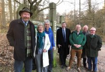 Sir Harry Studholme, Chairman of Forestry Commission, Lady Cossins, Chair of Shropshire Wildlife Trust, Colin Preston, Director of SWT, Philip Dunne, MP for Ludlow, Kevin Stannard, Director, FC West of England Region, Colin Richards and James Hepworth, Friends of Mortimer Forest
