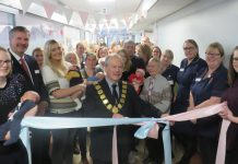The Mayor of Shrewsbury, Peter Nutting, was joined by some of the mums, their families and the staff who helped re-design the unit, to cut the ribbon and officially open the £500,000 refurbished Midwife Led Unit