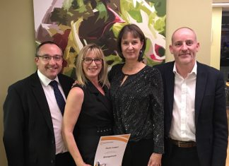 Left to right: Brian Evans, managing partner at Lanyon Bowdler, Paula Cooper winner of Award for Management, Lesley Adams – from the apprenticeship programme and Rowland Waddington, operations manager at Lanyon Bowdler