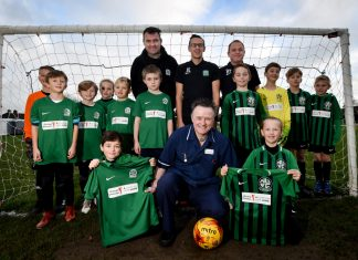 Sam Johnson and Finley Edgerton both aged 9 with Patrick Griffin from Coverage Care Services (Centre front). (Back row) Nova Galaxy and Nova All Stars coaches - Pete Shelley, Jamie Edgerton and Richard Payne