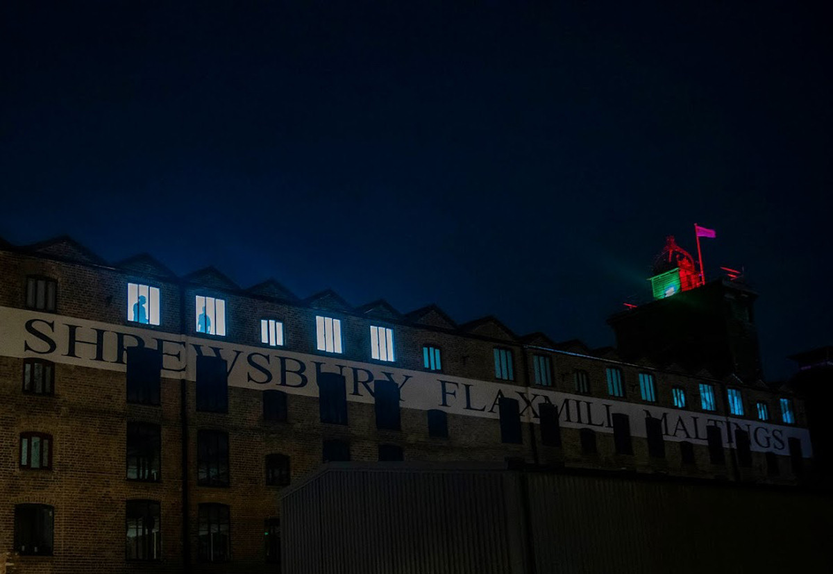 A light installation by artist Andy McKeown goes on display at Shrewsbury Flaxmill Maltings, as Historic England celebrates the scaffold removal phase of the £28 million restoration project. Photo: Fabio De Paola/PA Wire