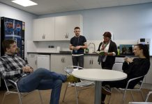 Students in the new HE centre
