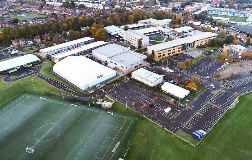 An aerial view of Telford College's Haybridge campus