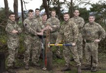Trainees from the Defence Helicopter Flying School who took part in the project
