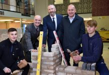 Apprentice Joe Richards, aged 19 from Wellington, Stuart Raine, Curriculum Leader Construction & Trades from Shrewsbury Colleges Group, Steve Flavell and James West from Morris Property and Apprentice Nathan Horton, aged 17 from Whitchurch