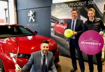 Danny Minshall, left, and Sam Owen from Budgen Motors with, right, Jon Gidney, The Shrewsbury Club's marketing manager