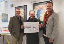 From left, artist Mark Payne, customer Gregg Scott with the cheque for Hope House and Jonathan Soden, proprietor of The Soden Collection gallery in Shrewsbury