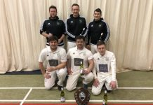 Grasshoppers are pictured with the shield, back from left Andy Harrison, Craig Heath, Joe Yapp; front Alex Johnson, Jack Edwards Matty Cliffe