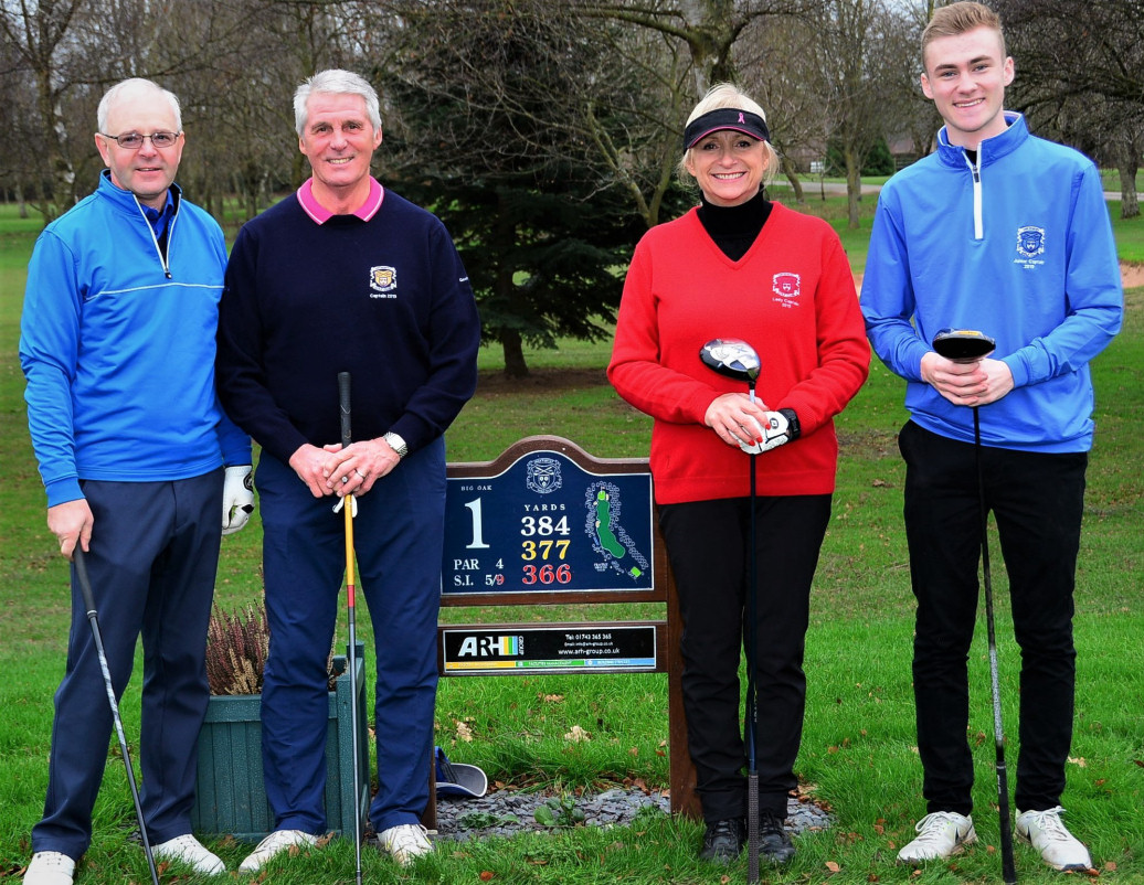 Pictured with Geoff and Lesley (centre) are Junior Captain Henry Gregory and his Men's Senior Section counterpart David Fisher