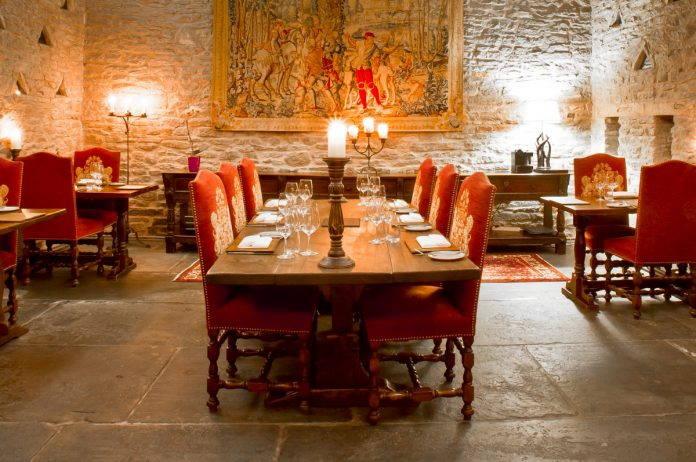 Dating from Norman times, the restaurant has the feel of a medieval great hall with its stone walls, tapestry and chandelier