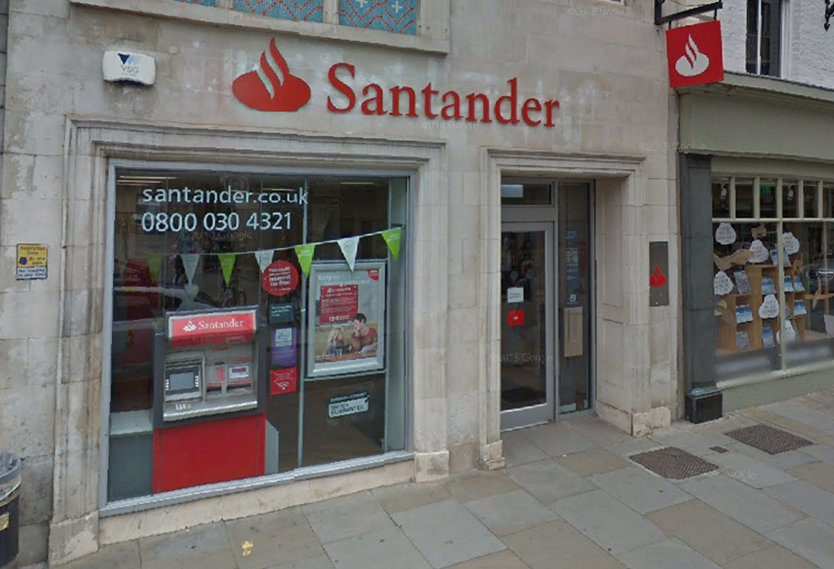 The High Street branch of Santander is to close in Shrewsbury town centre. Photo: Google Street View