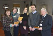 Pictured are, from left, Maggie Rogers, Sally Themans, Natasha Hathaway, Richard Whitney and John Cannaby