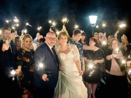 The bride and groom celebrate their special day with guests