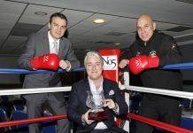 Pictured, from left, former WBC super-middleweight champion Richie Woodhall, Tony McDaid, CEO and Director of Clerking at No5 Barristers' Chambers, holding the Len Woodhall Memorial Trophy and Wellington Boxing Academy head coach Mo Fiaz