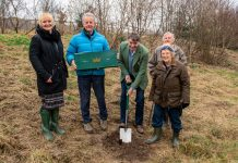 At the tree planting ceremony are Michelle Hodnett (Independent Living Co-Ordinator), Duncan Forbes (Interim Connexus CEO), Philip Dunne (Ludlow MP), Anne and Tim Toft (Ley Gardens/Lawley Close residents)