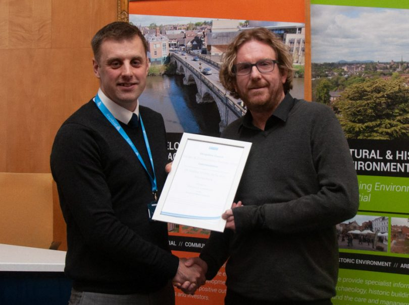 Councillor Rob Macey, Portfolio Holder for Planning and Housing Development at Shropshire Council with Craig Marston, director of Ke-Design