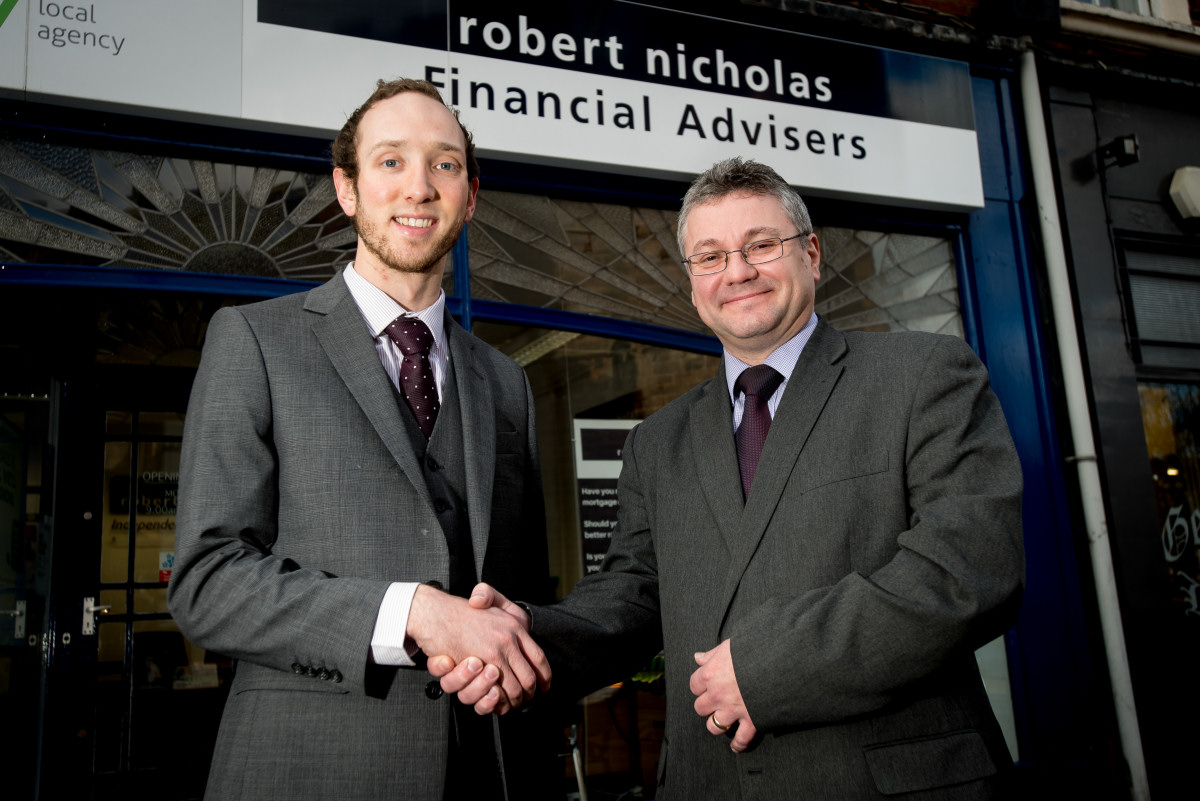 Business Development Executive Dan West from Fiveways pictured with Robert Nicholas Director Andrew Harvey