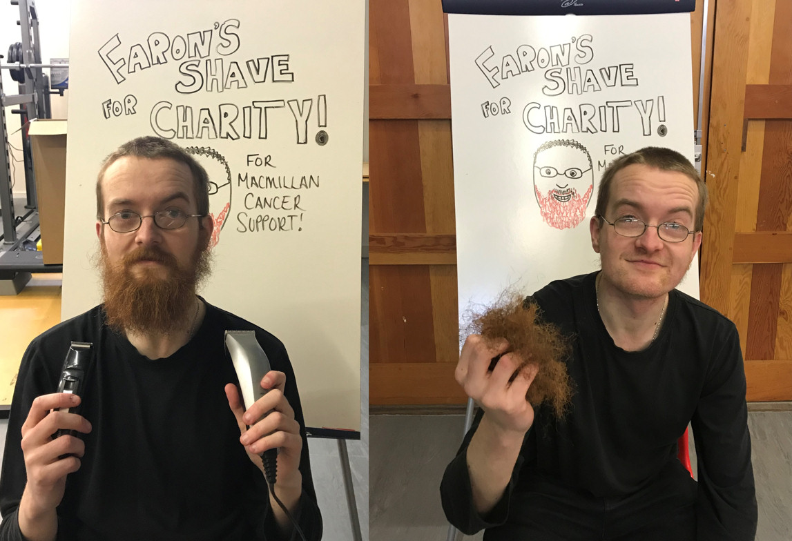 Faron before and after his charity challenge