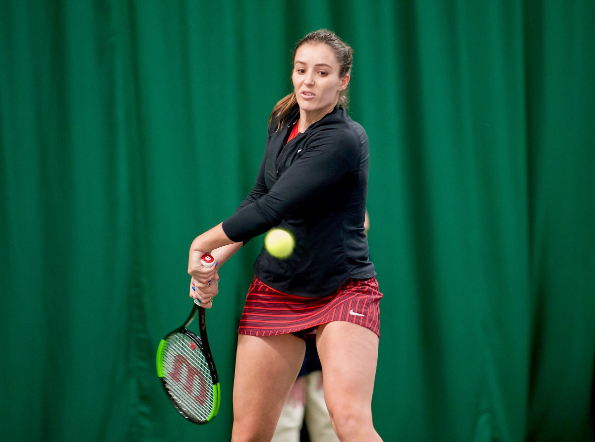 Laura Robson during her return to action at The Shrewsbury Club yesterday. Photo: Richard Dawson Photography