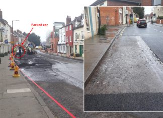 Last Saturday, a parked car prevented resurfacing of an area of the road opposite Tesco