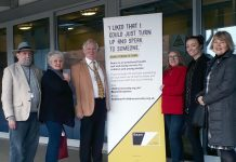 Andy Boddington, Shropshire Councillor for Ludlow North; Jane Hunt, Beam volunteer; Tim Gill, Mayor of Ludlow; Tracey Huffer, Shropshire Councillor for Ludlow East; Natalie Deakin, Children's Society; Erica Garner, Ludlow town councillor and Young Shropshire Into Work