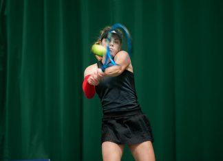 Maia Lumsden in action during her victory at The Shrewsbury Club yesterday. Photo: Richard Dawson Photography