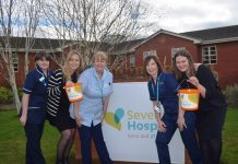 Network Telecom's Marketing Executive Becky Homersley (2nd left)and Marketing Manager Amelia Ebdon (right) with Severn Hospice staff at a recent visit to the local charity