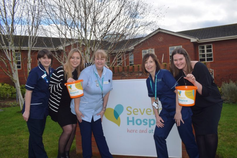 Network Telecom's Marketing Executive Becky Homersley (2nd left) and Marketing Manager Amelia Ebdon (right) with Severn Hospice staff at a recent visit to the local charity