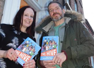 Charlie Adlard with Katie Jennings, CEO at The Hive in Shrewsbury